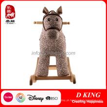 Brinquedo de madeira das crianças do cavalo de balanço do cavaleiro da mola En71 com rodas