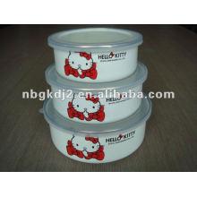 Jogos da bacia de mistura do esmalte 3pcs com tampa plástica