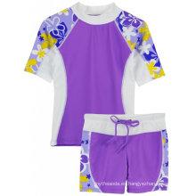 Tuga Girls Upf 50+ Seaside S / S Rashguard y pantalones cortos de baño