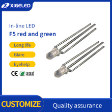 Straight plug f5-red general and-green two-color led light
