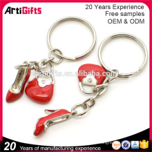 Best quality metal enamel lovely red high heel shoe keychain