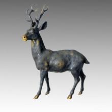Tier Messing Statue Männlich Hirsch Bronze Skulptur Tpal-032
