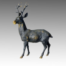 Animal Brass Statue Male Deer Bronze Sculpture Tpal-032