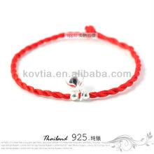 Nouvelle bijouterie en argent à la mode bracelet rouge à cordes tressées