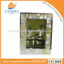 Eco Friendly GOlden Mother-of-pearl Frame Photo with Silver Edge