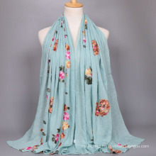 Hot sellling women maxi floral cotton scarf shawl oversized cotton floral Embroidered women Muslim hijab scarf