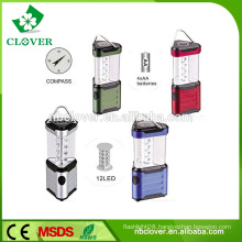 Triangle shape camping using 12 led emergency camping lantern with compass