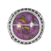 Preciosa turquesa de cobre púrpura y piedras preciosas de amatista 925 anillo de plata sólida