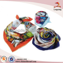 90*90 High Quality Digital Print Silk Satin Square Scarf
