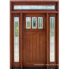 Mahogany Solid Wood Door with Glass Side-Lite and Transom