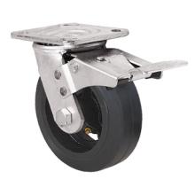 Heavy Duty Caster Series- 8in. W/Dual Brake - Rubber Wheel