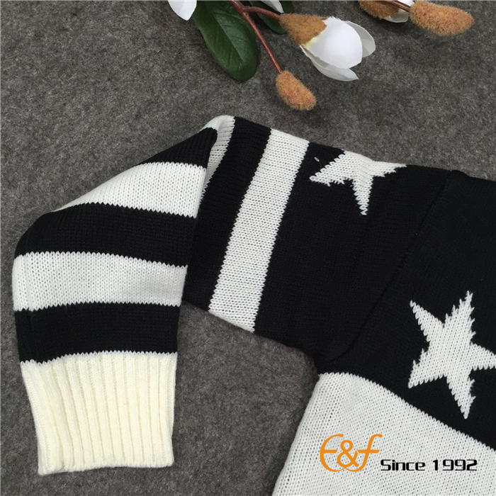 Black-white Color Sweater with Stripe Sleeves