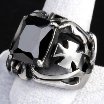 lucky stone Cross black gem ring