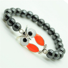 Hematite 8MM Round Beads Stretch Gemstone Bracelet with alloy Owl Piece