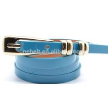Fashion shiny PU thin belt for lady's wear