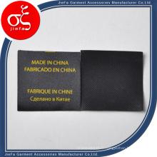 Étiquette sèche imprimée noire faite sur commande de lavage pour l'étiquette / étiquette de soin de cadeau / d'habillement
