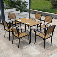Good price plastic wood outdoor garden furniture dining long table and armrest chair set