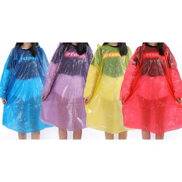 Stock Disposable PE RainCoat dengan elastik