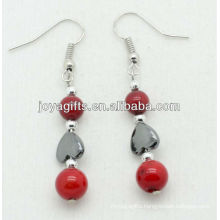 6MM Red coral with hematite heart beads earring