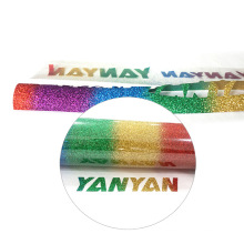 Angelacrox Easy weed Iron On rainbow glitter viynl roll heat transfer vinyl for Clothes flash logo