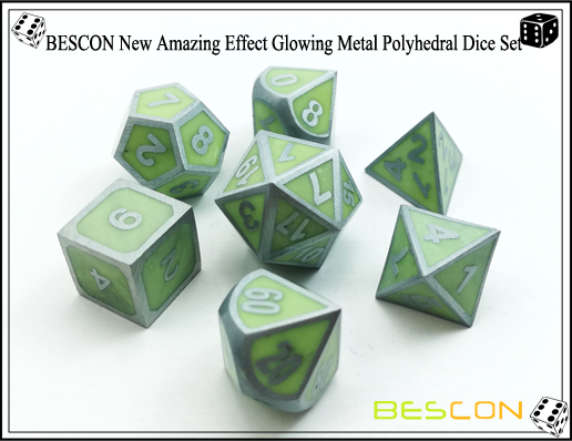BESCON New Amazing Effect Glowing in the Dark Metal Polyhedral Role Playing RPG Game Dice Set of 7-2