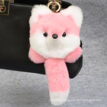 Fox Shaped Rex Rabbit Fur Keychain
