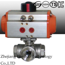 Pneumatic Actuated Three Way Stainless Steel Ball Valve with 1000wog