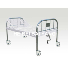 A-138 Movable All Plastic-Sprayed Single Function Manual Hospital Bed