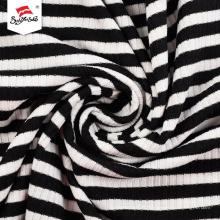 Tissu de spandex de rayonne de polyester côtelé teint en fil