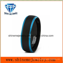Los anillos de boda azules vendedores calientes del doble del color del tungsteno del anillo