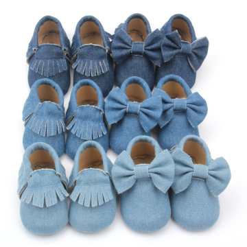 Unisex Varied Denim Moccasins Baby Shoes