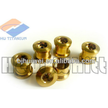 Gr5 titanium golden chain ring bolt for bike