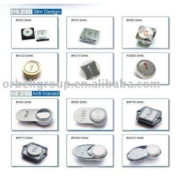 Botões de pressão, elevador COP e LOP
