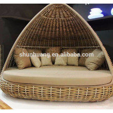 New design outdoor rattan beach sun bed furniture
