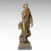 Classical Figure Statue Sea Fisher Bronze Sculpture TPE-187