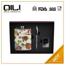 Accesorios del frasco de la cadera vino FDA de 8 oz acero inoxidable encanto caja set de regalo