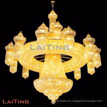 Big Hotel Chandelier Crystal Lamp For Sale Araña de cristal de oro antiguo