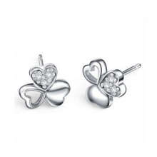 Three-Leaf Clover Friendship Love Family 925 Silver Stud Earrings