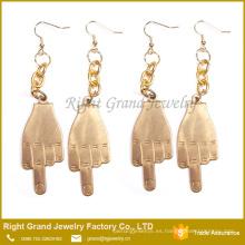 Pendientes de gota de lujo del dedo medio plateado oro quirúrgico del acero indio de la moda del precio al por mayor 316L