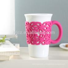 400 куб. керамические кофейные кружки с ручкой в силиконе