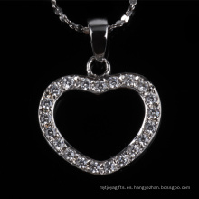 Precio de fábrica joyería hermosa forma de corazón collar de joyería de plata de moda