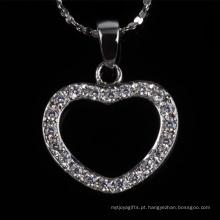Preço de fábrica bela jóia do coração forma de moda colar de jóias de prata