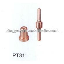 Bico de corte por plasma e eléctrodo PT31
