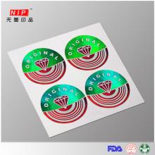 Venda quente da calcadeira evidente etiqueta holográfica de impressão