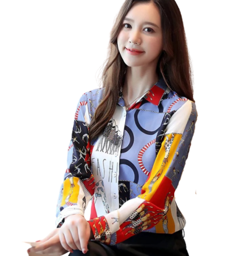 Womens Fashion Casual Long-sleeved Chiffon Shirt
