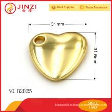 Décoration en forme de coeur fraîche avec alliage de zinc de haute qualité, accessoires pour sac à main.