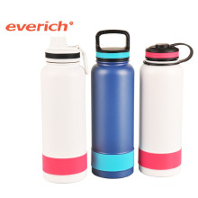 New design stainless steel blue sport water bottle with silicone sleeve
