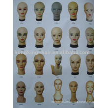 100% human hair fake wig head for cut and training