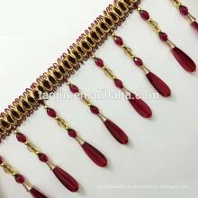 Polyester Vorhang Quaste Perlen Fransen Zierleisten, Kristall Perlen Fransen Bänder
