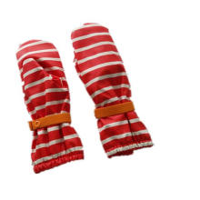 Stripe Red PU Waterproof Rain Mitten/Rain Glove/Raincoat with Buttom for Baby/Chilid